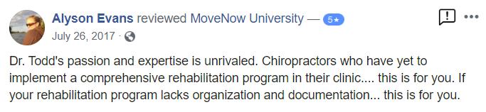 Chiropractor Alyson Evans MoveNow University Testimonial